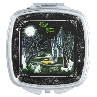 Halloween haunted house compact mirror