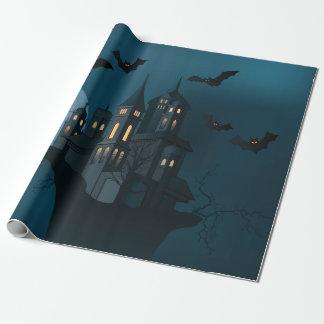 Halloween haunted house, dead tree, moon and bats