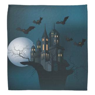 Halloween haunted house, dead tree, moon and bats do-rag