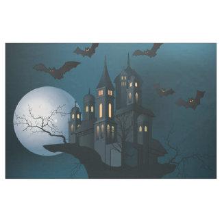 Halloween haunted house, dead tree, moon and bats fabric