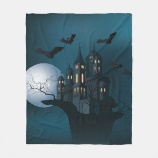 Halloween haunted house, dead tree, moon and bats fleece blanket