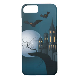 Halloween haunted house, dead tree, moon and bats iPhone 7 case