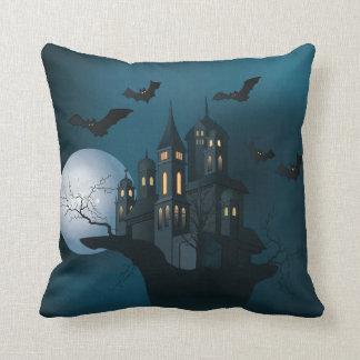 Halloween haunted house, dead tree, moon and bats throw pillow