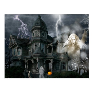 Halloween Haunted House Get Out While You Can Postcard