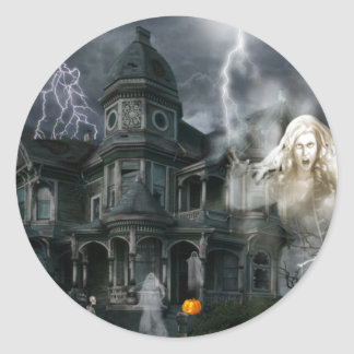 Halloween Haunted House Get Out While You Can Round Sticker