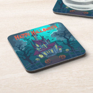 Halloween Haunted House Hard Plastic coasters