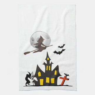 Halloween Haunted House Kitchen Towels