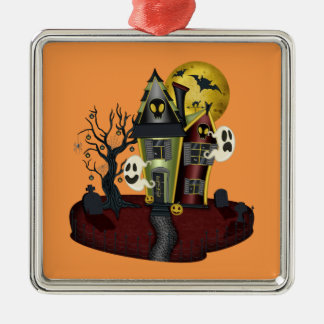 Halloween haunted house metal ornament