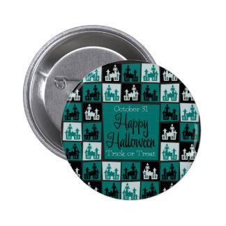 Halloween haunted house mosaic 6 cm round badge