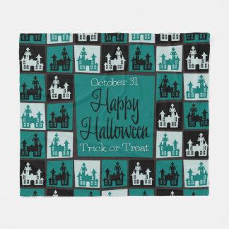 Halloween haunted house mosaic fleece blanket