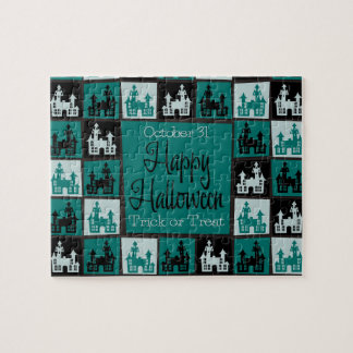 Halloween haunted house mosaic puzzles