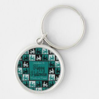 Halloween haunted house mosaic Silver-Colored round key ring