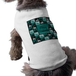 Halloween haunted house mosaic sleeveless dog shirt