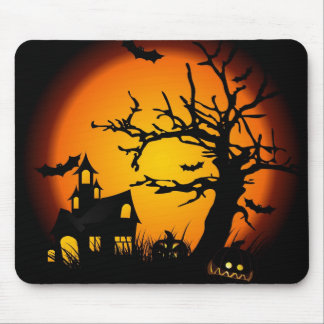 Halloween haunted house mouse pad