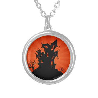 Halloween Haunted House Round Pendant Necklace