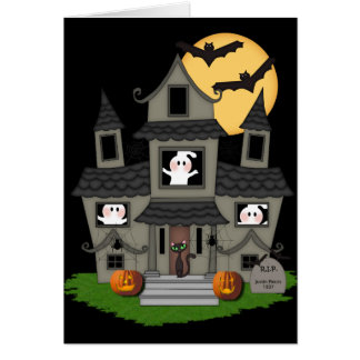 Halloween Haunted House Note Card