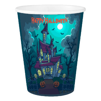 Halloween Haunted House Paper Cup, 9 oz Paper Cup