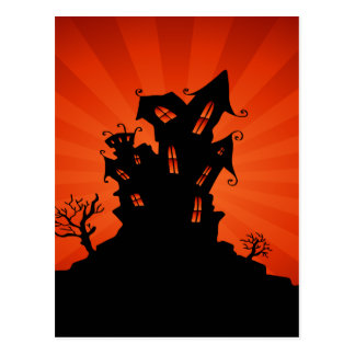 Halloween Haunted House Postcard
