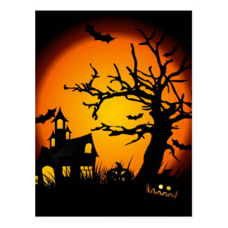 Halloween haunted house postcards