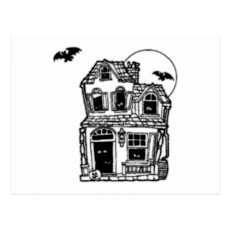 Halloween Haunted House Post Card