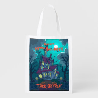 Halloween Haunted House  Reusable Trick or Treat Reusable Grocery Bag