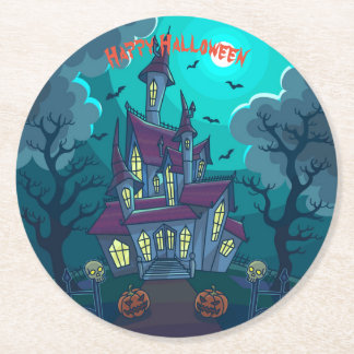 Halloween Haunted House Round Paper Coaster