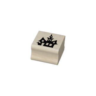 Halloween Haunted House Rubber Stamp