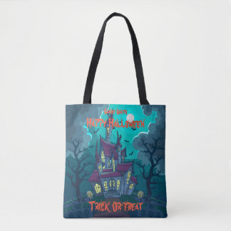Halloween Haunted House Trick or Treat Tote Bag