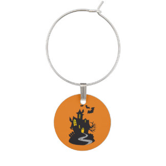 Halloween Haunted House Wine Charm