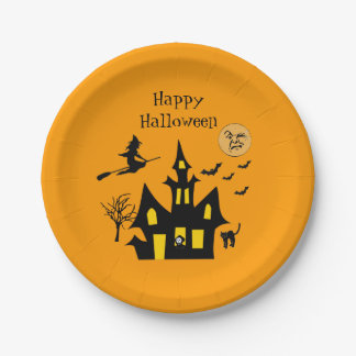 Halloween Haunted House Witch Bats Ghost Spooky Paper Plate