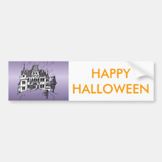 Halloween Haunted House With A Purple Background Car Bumper Sticker