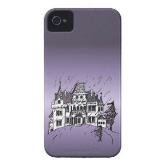 Halloween Haunted House With A Purple Background Case-Mate iPhone 4 Cases