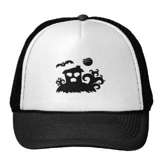 Halloween Haunted House with Bat Trucker Hats