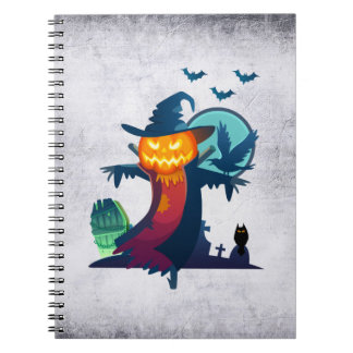Halloween Haunted Scarecrow With Bats And A Crow Note Book