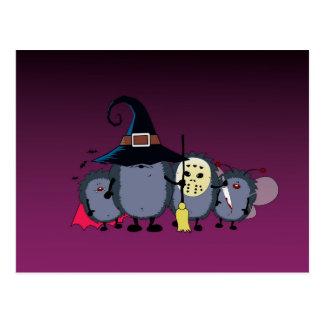 Halloween hedgehogs party crew postcard