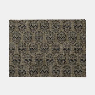 Halloween Hipster Black Sugar Skulls Rustic Burlap Doormat