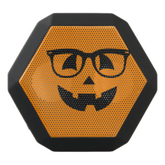 Halloween Hipster Pumpkin Pattern Black Bluetooth Speaker