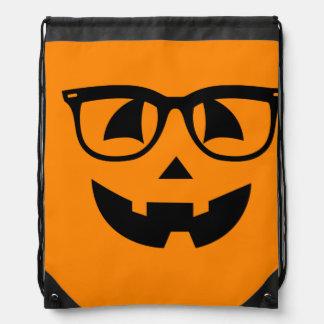 Halloween Hipster Pumpkin Pattern Drawstring Bag