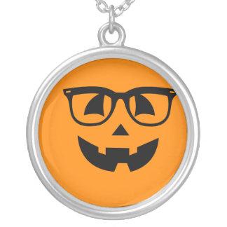 Halloween Hipster Pumpkin Pattern Silver Plated Necklace