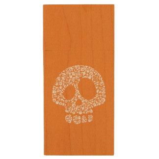 Halloween Icons - Skull Wood USB 2.0 Flash Drive