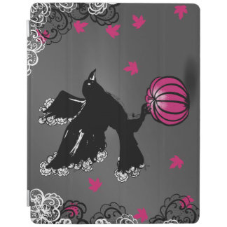 halloween illustration of a raven and a pumpkin iPad cover