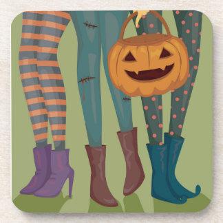 Halloween Illustration Of Girls Beverage Coasters
