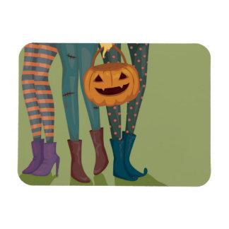 Halloween Illustration Of Girls Rectangular Photo Magnet