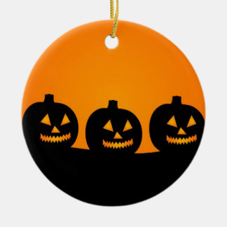 Halloween Illustration Round Ceramic Decoration