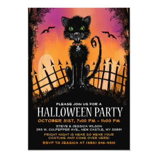 Halloween Invite - Scary Cat in Graveyard