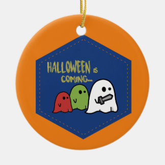 Halloween is coming ceramic ornament