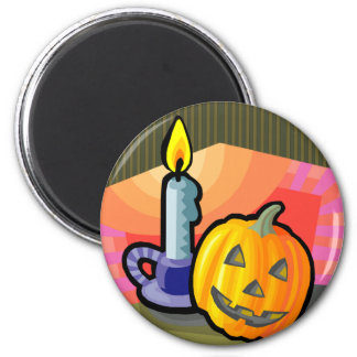 Halloween Jack o lantern and Candle Refrigerator Magnets