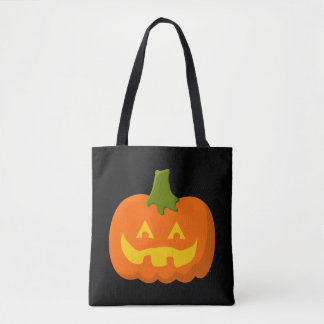 Halloween Jack-O-Lantern Orange Pumpkin Midnight Tote Bag