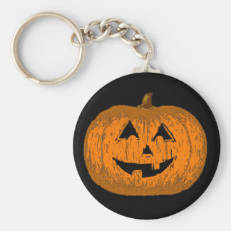 Halloween Jack O Lantern Pumpkin Basic Round Button Key Ring