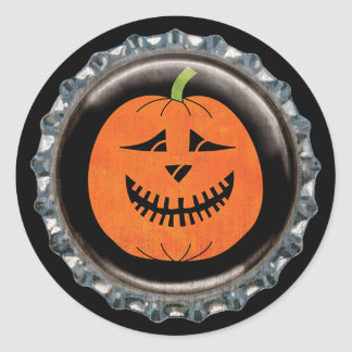 Halloween Jack-o'-lantern Pumpkin Bottle Cap Classic Round Sticker